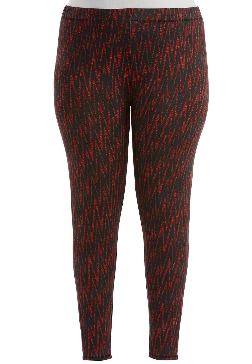 96a6170079 Chevron Printed Leggings- Plus Pants Cato Fashions