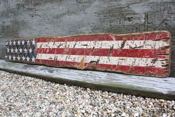 Rustic Wood American Flag Sign USA Star Liberty Wood Distressed Sign 4 ft 4th of July