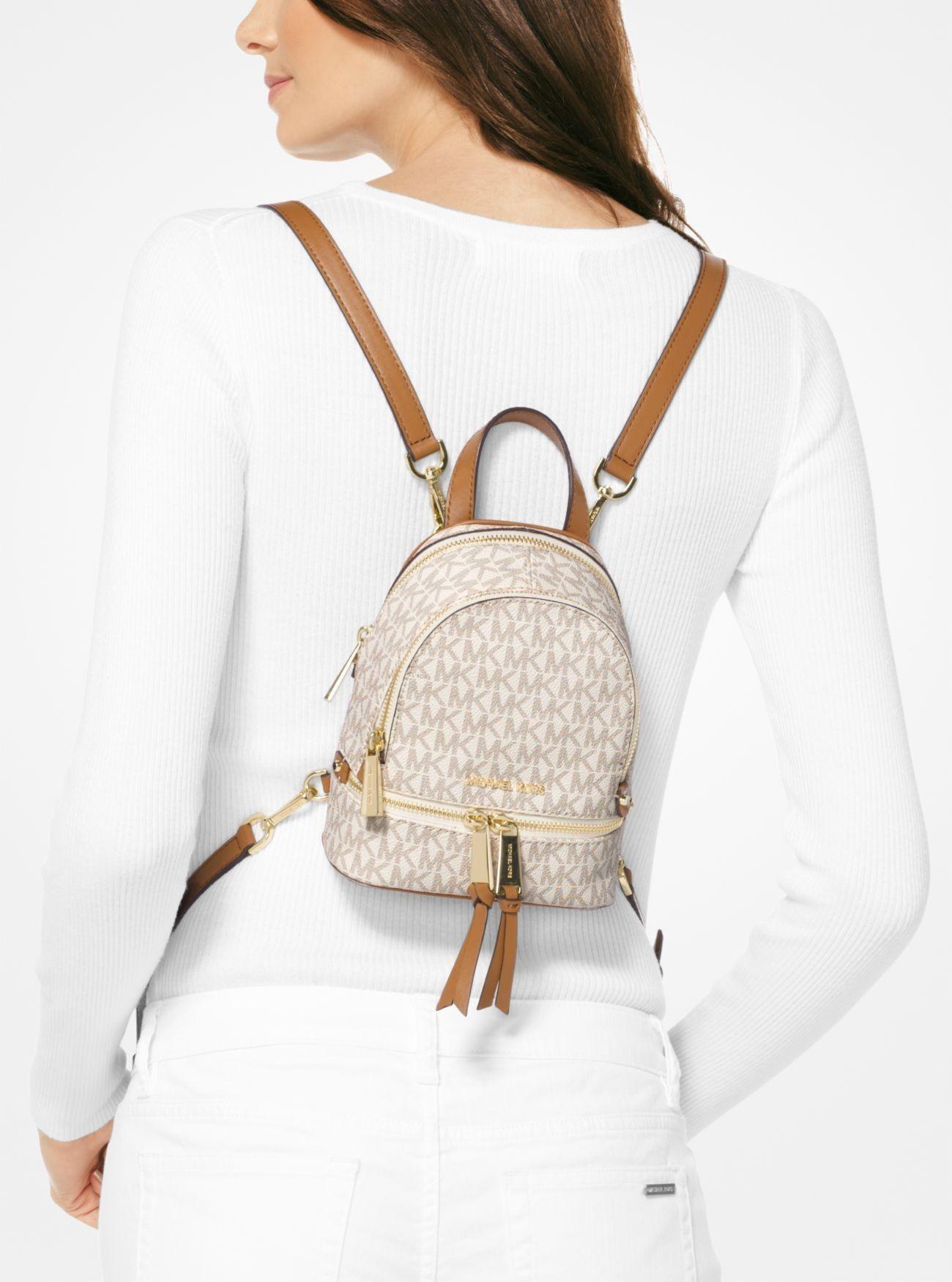 e2f13662c563 Sale Michael Kors Vanilla Rhea Mini Logo Backpack Online   MK in 2019