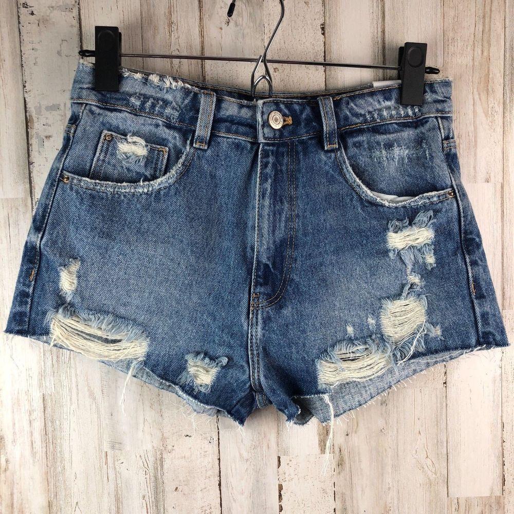962e334c9a Zara Trafaluc Womens Size 2 Hi Rise Hot Pant Distressed Denim Cut ...