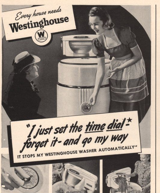 1940 Vintage Washer Washing Machine With Wringer Westinghouse Print Ad Laundry Room Decor