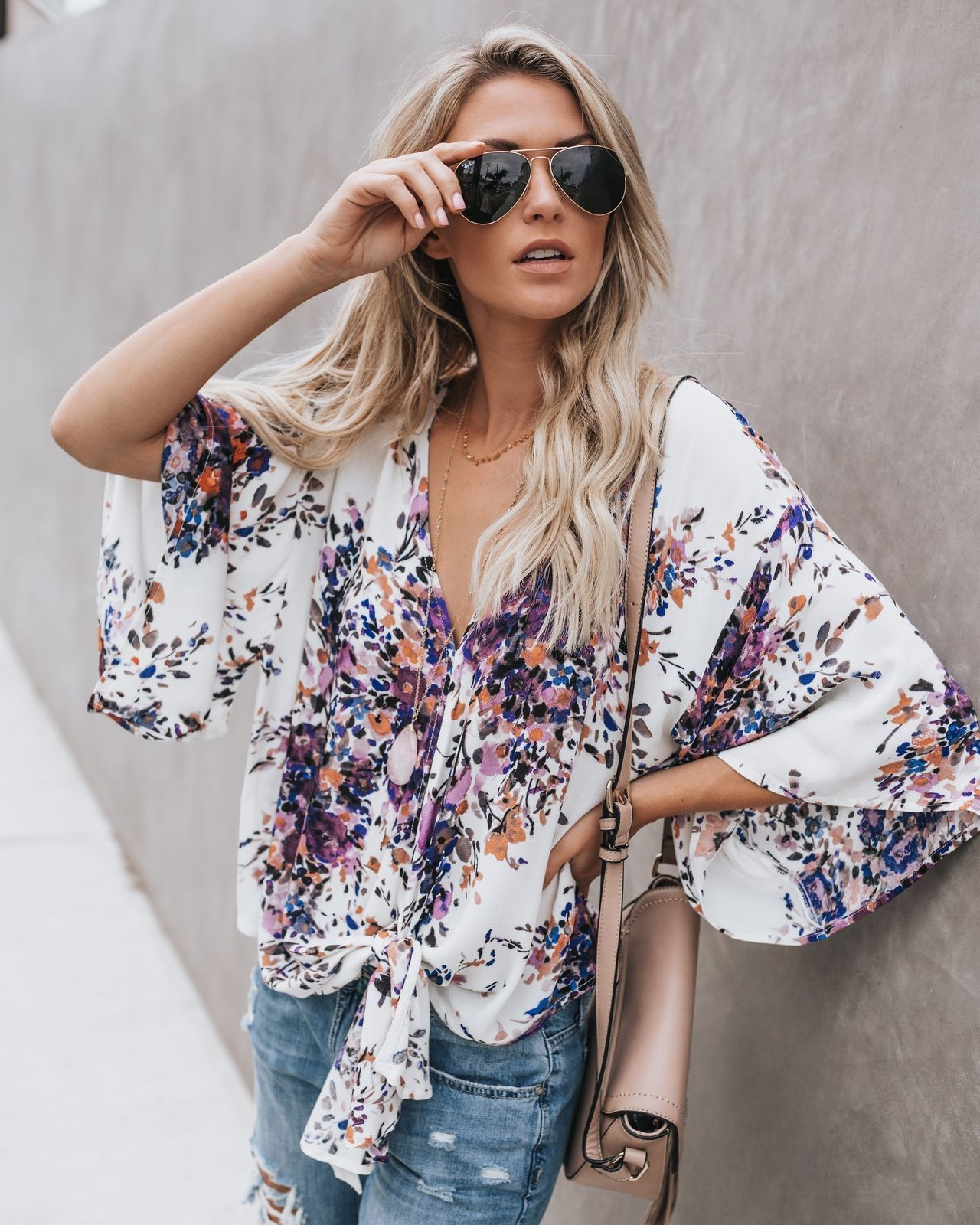 a49eace198b Womens Boho Batwing Sleeve Knotted T Shirt Summer Casual Loose Blouse Top  Kimono