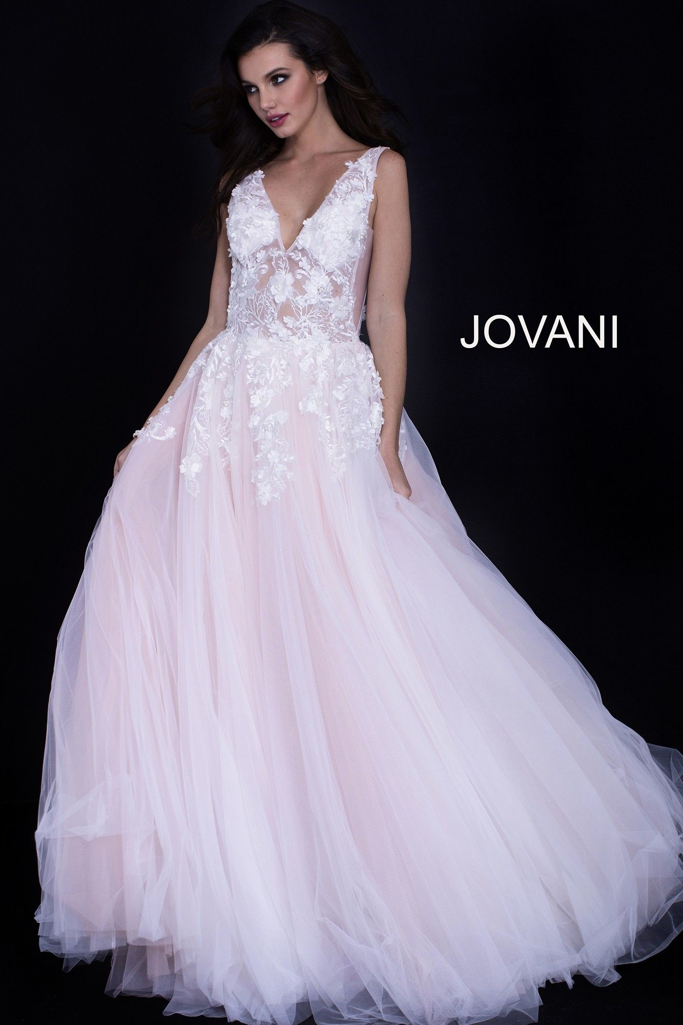 Jovani 55634 Illusion Ball Gown With 3 D Flowers Prom Dresses