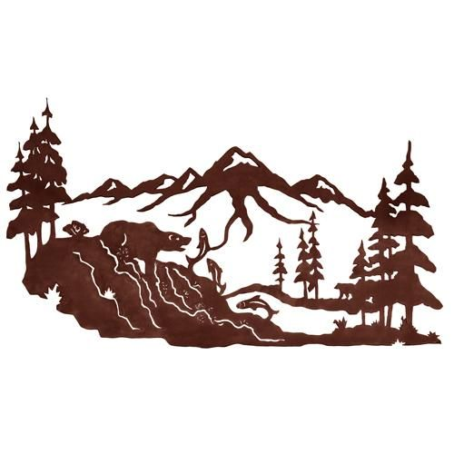 Rustic Metal Art Decor | Fishing Bear 42u0027u0027 Metal Wall Art At Rocky Mountain