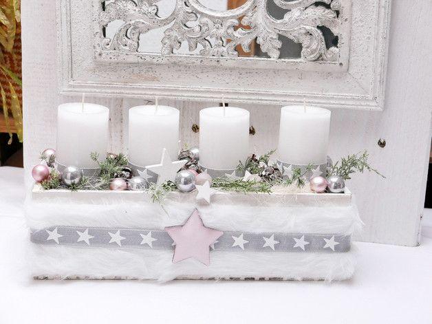 adventskranz adventsschale stern wei rosa oder. Black Bedroom Furniture Sets. Home Design Ideas