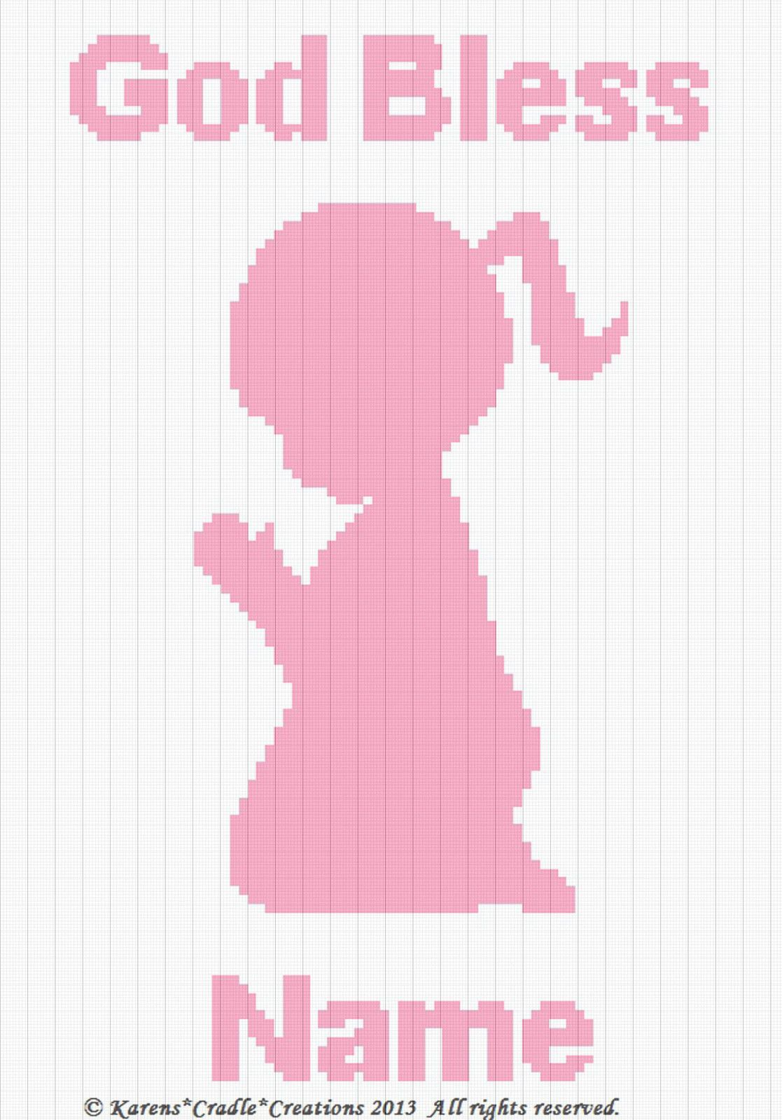 Crochet Pattern GOD BLESS BABY BOY SILHOUETTE *Personalized* Graph Afghan Chart