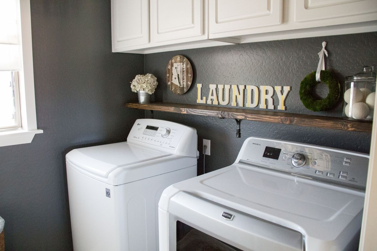 Laundry Room Makeover Sherwin Williams Peppercorn Paint White Cabinets And Framed Window Laundry Room Makeover Grey Laundry Rooms Laundry Room Organization