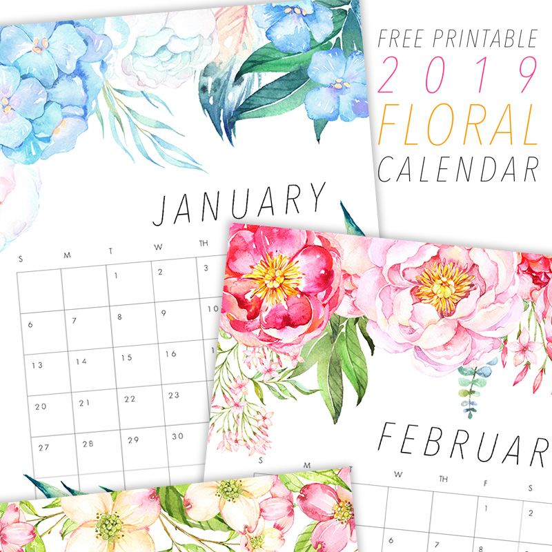 FREE PRINTABLE 2019 FLORAL CALENDAR (With Images) Free Printable