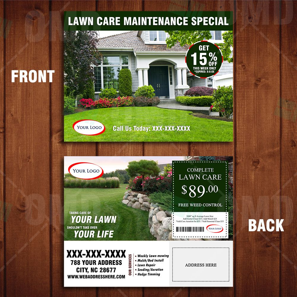Landscaping Marketing Direct Mailer Template Front And Back Design