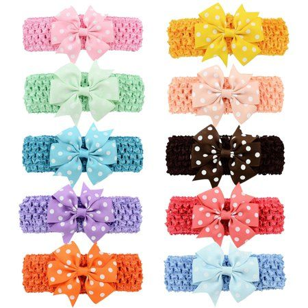 3f8c8dbca7d8 Coxeer 10 Pcs Baby Girls Hair Bows Alligator Clips Headband Accessories for  Women Girls