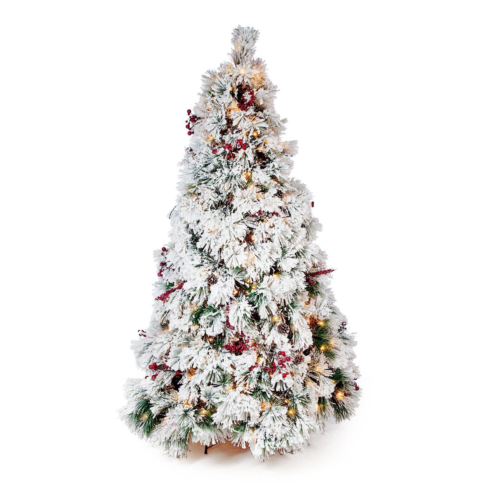 Belham Living 7 5 Ft Flocked Pine Needle Slim Pre Lit Christmas Tree With Pre Lit Christmas Tree Christmas Tree Slim Christmas Tree