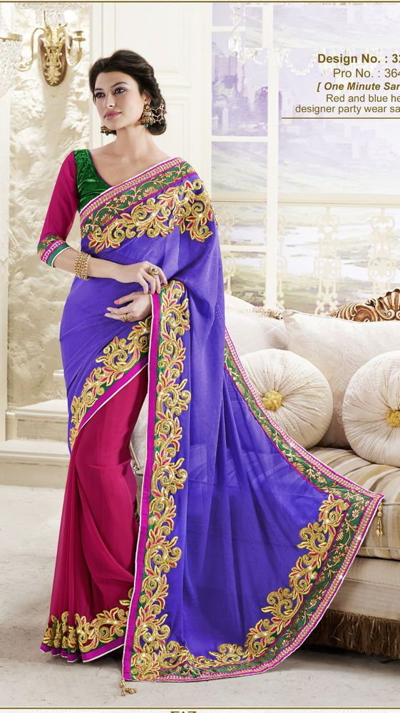 Violet Ethnic Bollywood Saree Wedding Indian Designer Party Sari ...