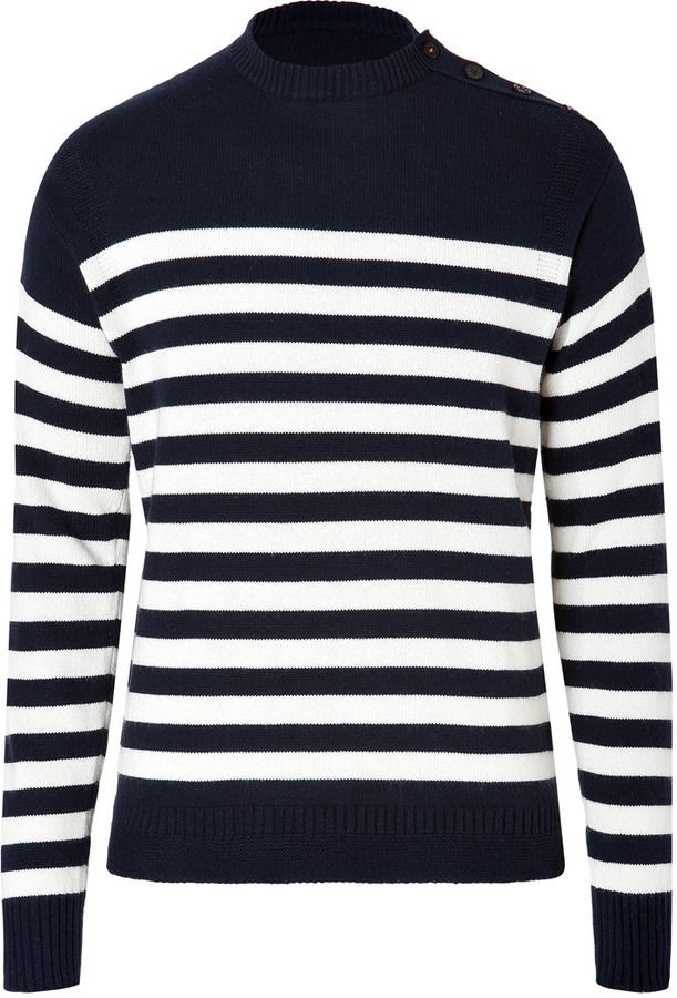 db39faf0f5a Navy Horizontal Striped Crew-neck Sweater by Ralph Lauren Blue Label ...