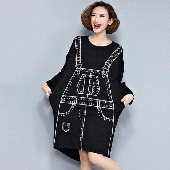 Spring Long Bat Sleeve Dress Women Clothing Novelty 3D Pattern Print Kawaii Punk Loose Knee Length Midi Straight Autumn Vestidos