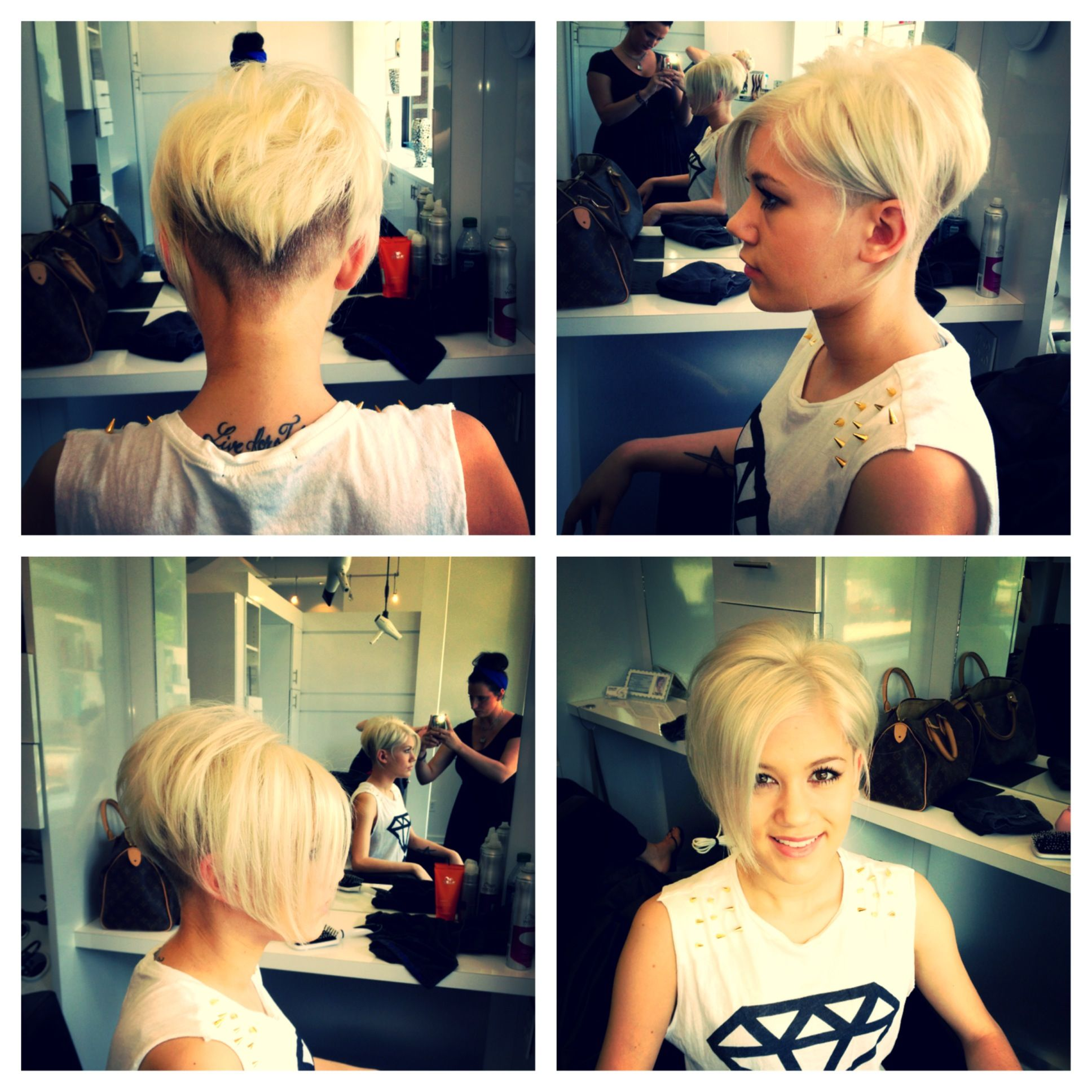Icey blonde with shaved sides down to Mohawk! Not sure about the shaved neckline, but could easily keep hair longer and use this as a bob while growing out a pixie.