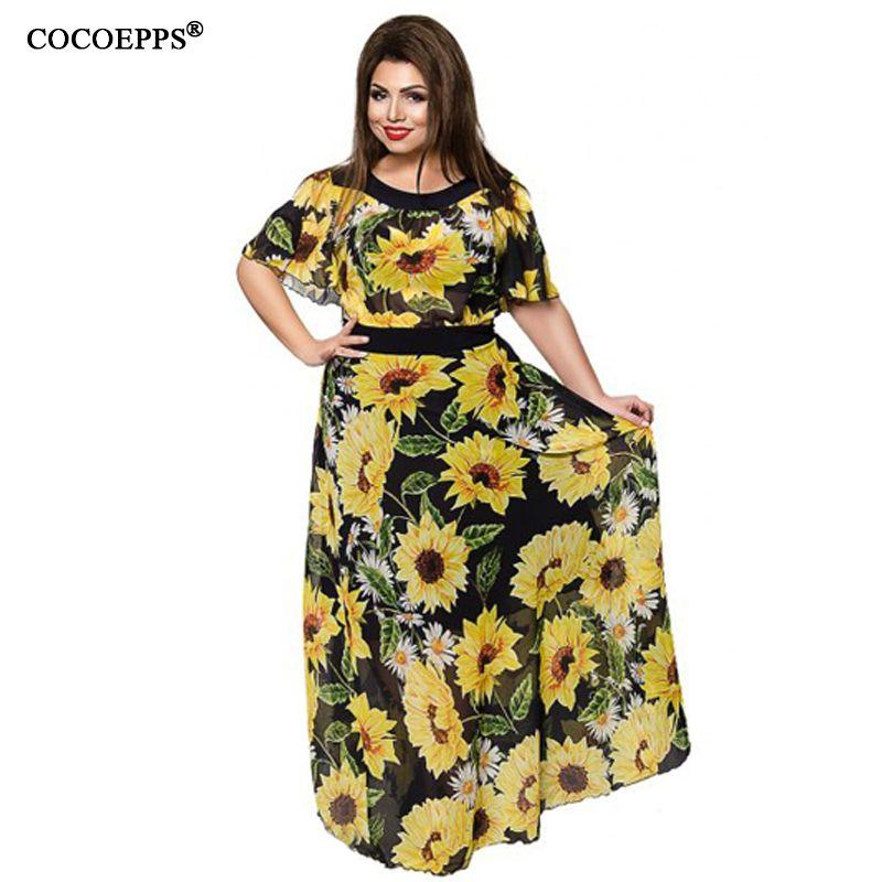 254760c79f363 COCOEPPS Women 5XL 6XL Plus Size Flower Print Chiffon Long Dresses Summer Elegant  Big Large Size