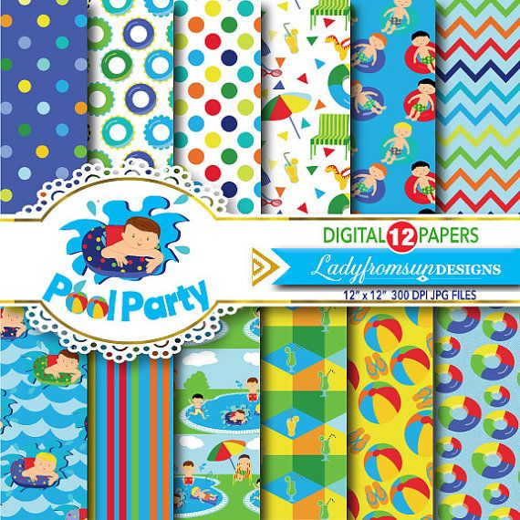 Boys Pool party digital paper pack, pool party background,Summer