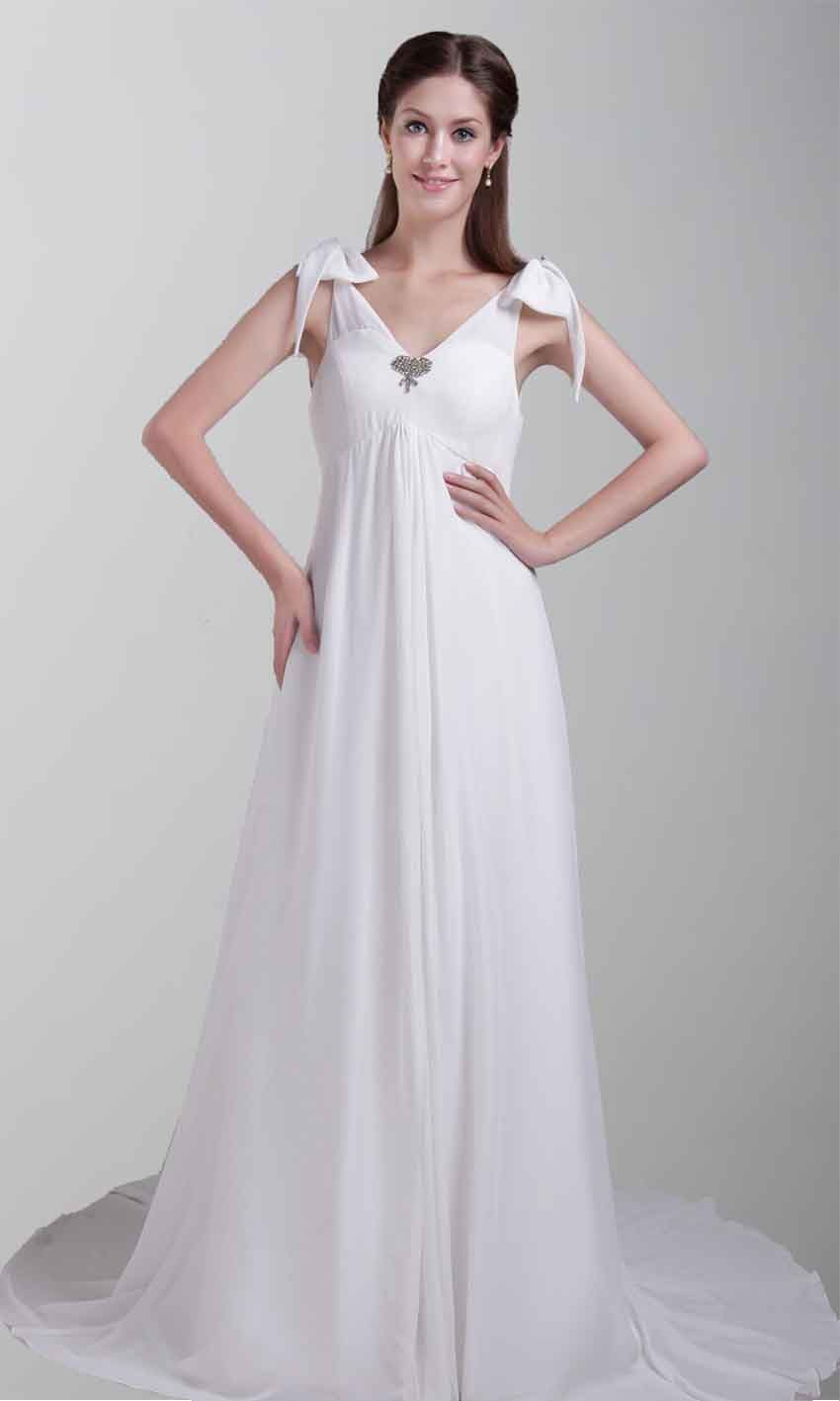 Greek Goddess White Long Prom Dresses With Tie Strap KSP236 | prom ...