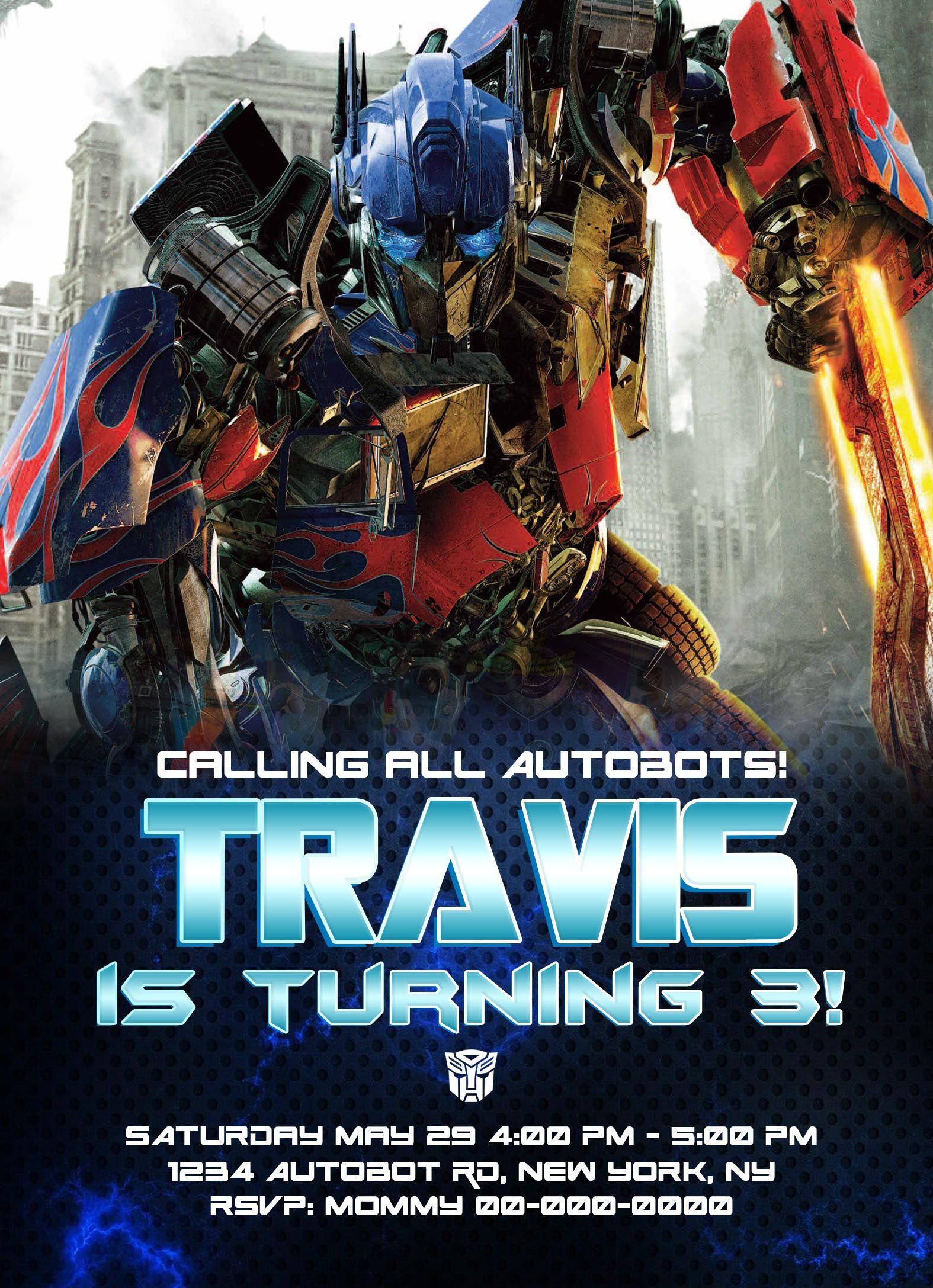 Transformers Invitation Transformer Birthday Party Printables 4th Ideas