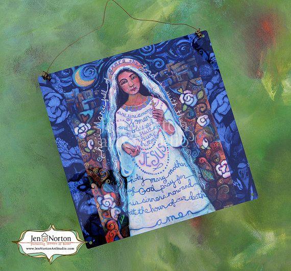 Hail Mary Painted Prayer Weatherproof Wall by JenNortonArtStudio