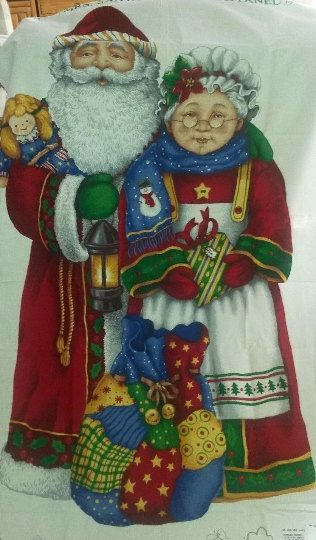 Santa Diy Door Panel Mr And Mrs Santa Claus Diy Fabric Door Etsy Christmas Fabric Quilted Wall Hangings Christmas Quilt