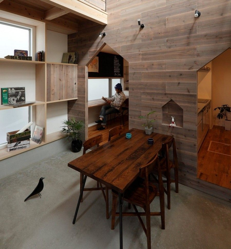 Hazukashi House With Wooden Double Height Dining Room And Timber Panels Walls Also Square Grid