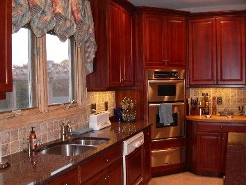 Painted Kitchen Cabinets In Colonial Red Light Distressed