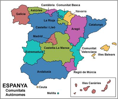 Bloc d'aula de 4t de Primària: LES COMUNITATS AUTÒNOMES D'ESPANYA