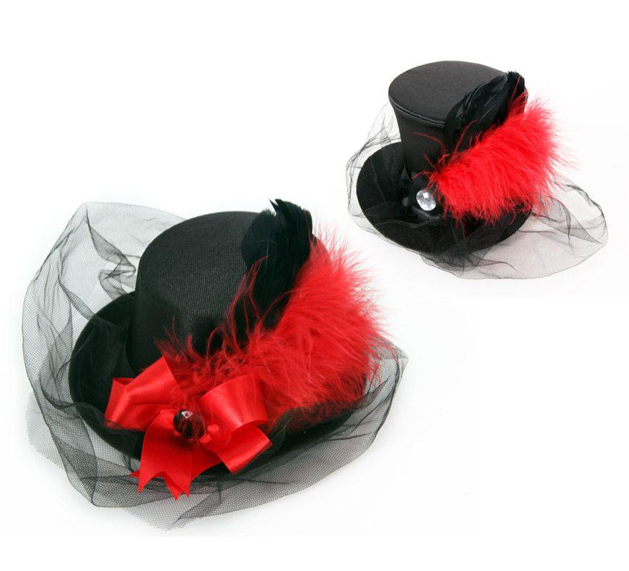 de63e5e6004d7 Mini Sombrero de Copa o Chistera negro con pluma y velo.