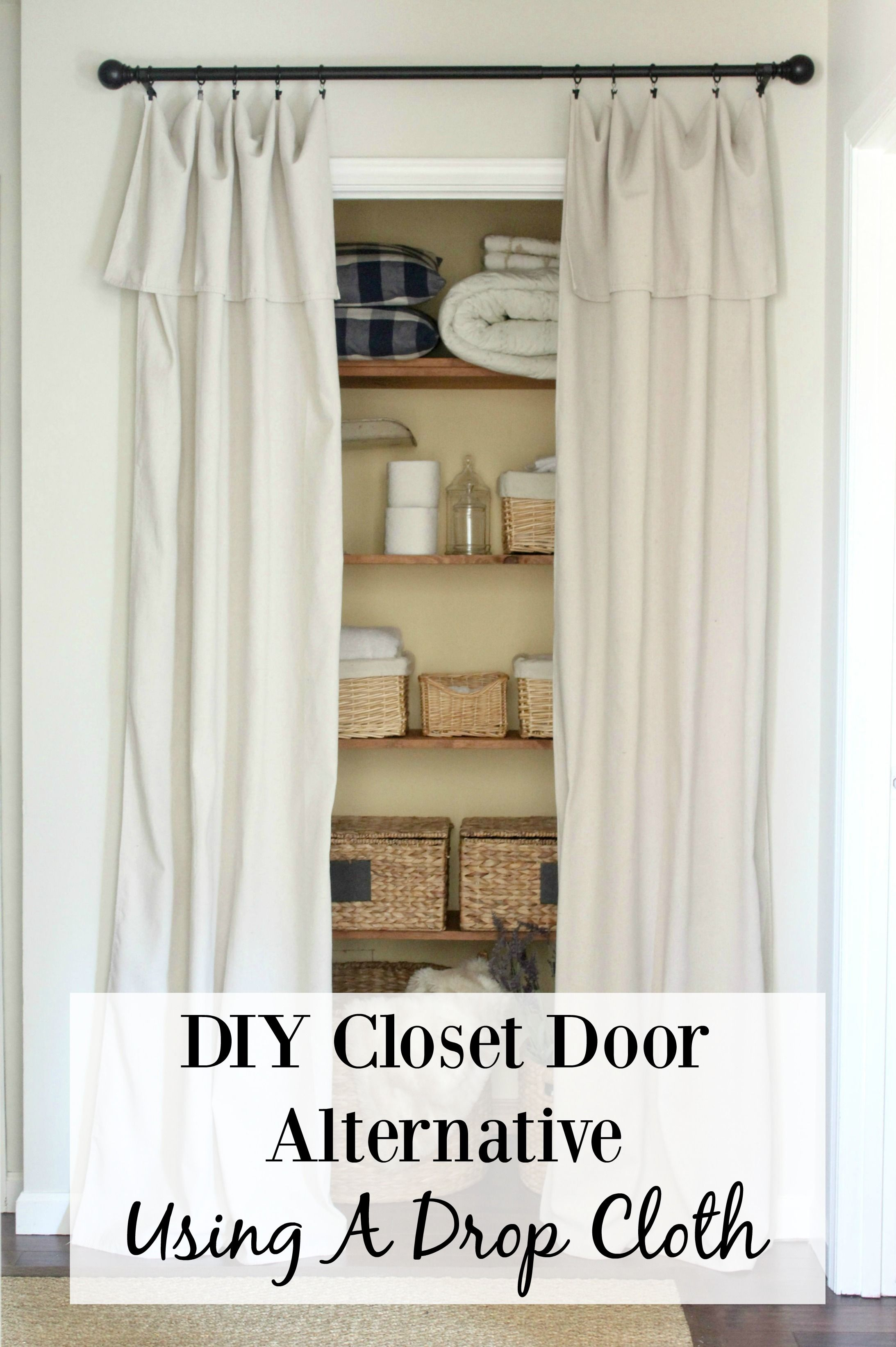 Closet Door Alternative A Drop Cloth Cut In Half Folded Over And