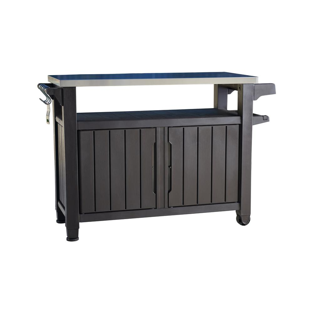 Keter Unity Xl 78 Gal Grill Serving Prep Station Cart With Patio Storage 229369 Patio Storage Outdoor Bbq Outdoor Serving Cart