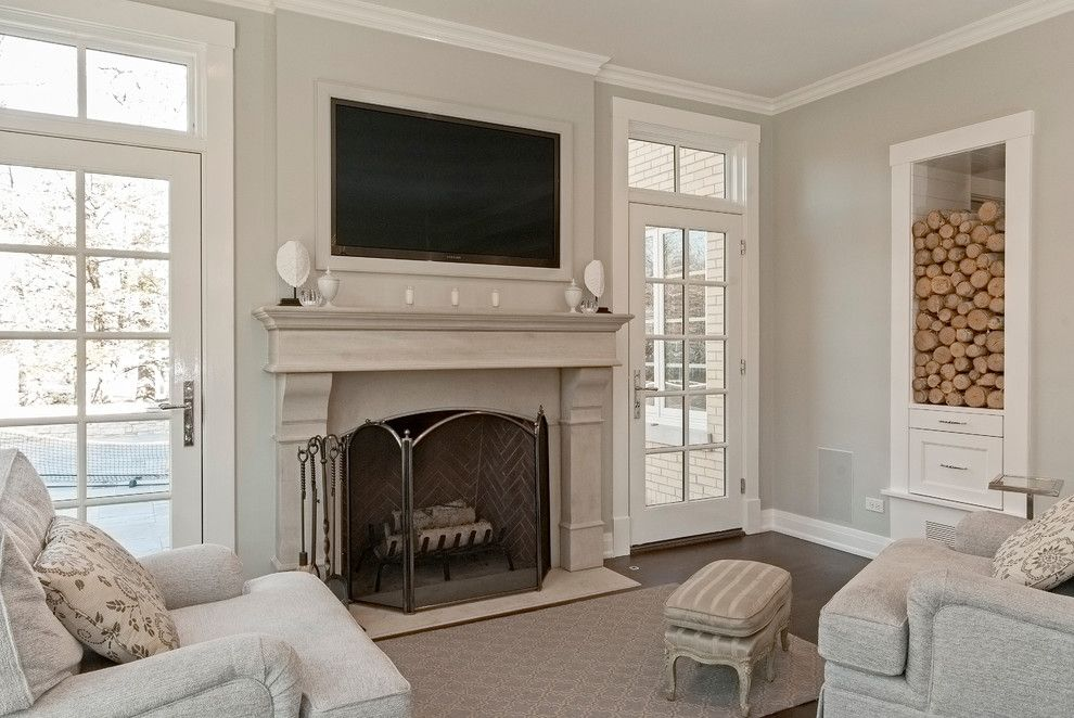 Great Room Fireplace Windows French Door