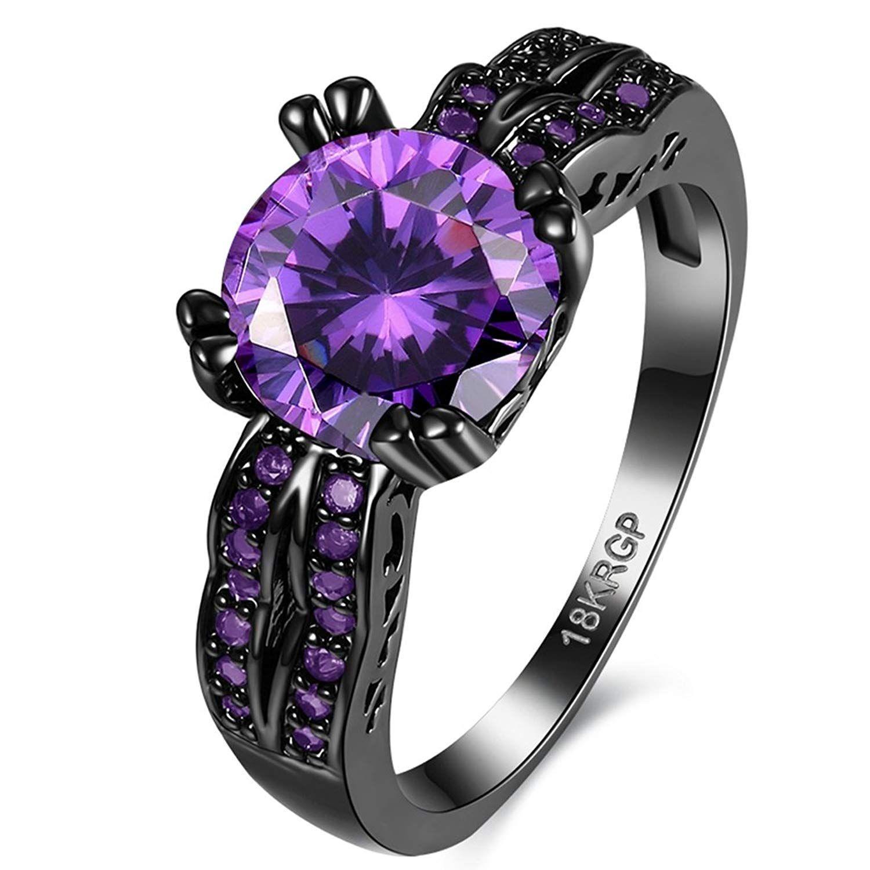 Jewelry Created Purple Amethyst Diamonds Tungsten