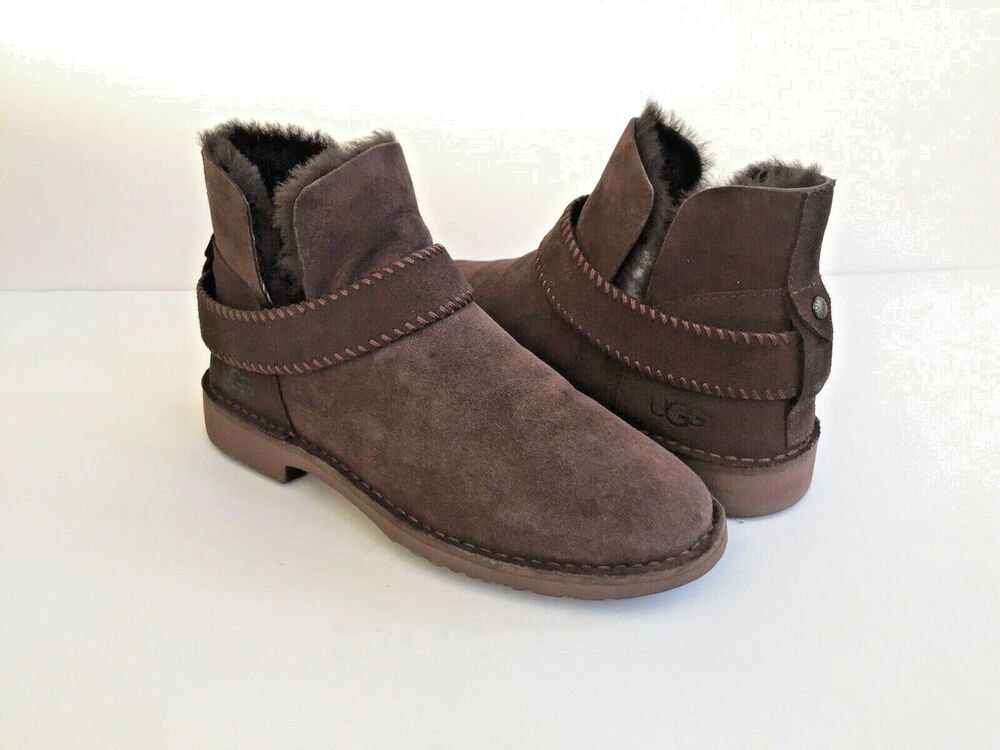 2cc498c8cdc eBay Advertisement) UGG MCKAY CHOCOLATE SUEDE SHEARLING ANKLE BOOTS ...
