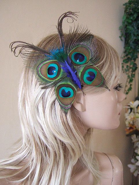 Bridesmaids Flowergirl Peacock Feathers Butterfly and Crystal Blue Green Hair Clip Fascinator MNB112. $24.00, via Etsy.