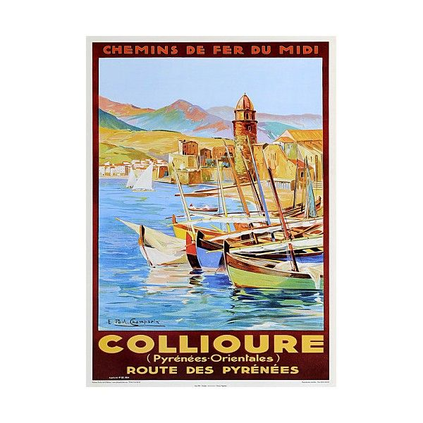 Affiche Ancienne Collioure Chemin De Fer Du Midi France Vintage Posters Labels Etc