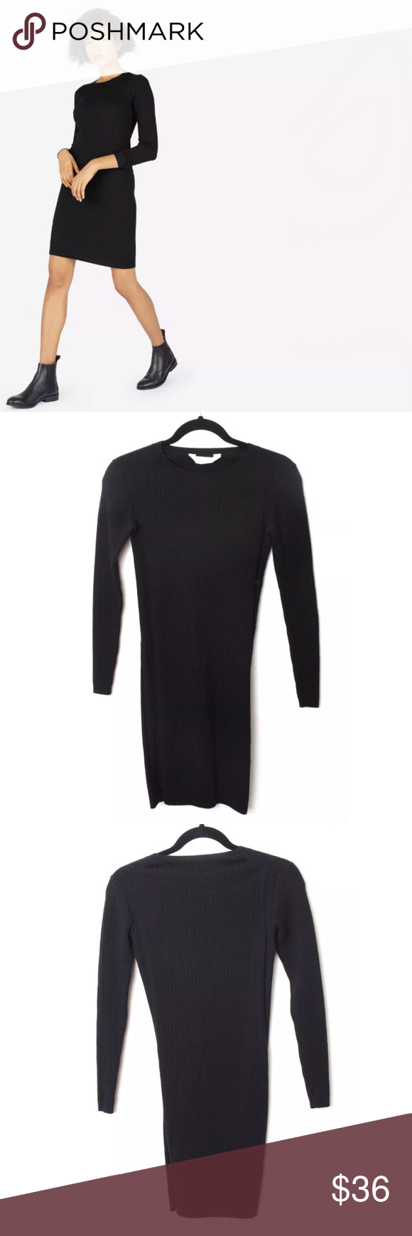 Everlane the luxe long sleeve ribbed wool dress in my posh