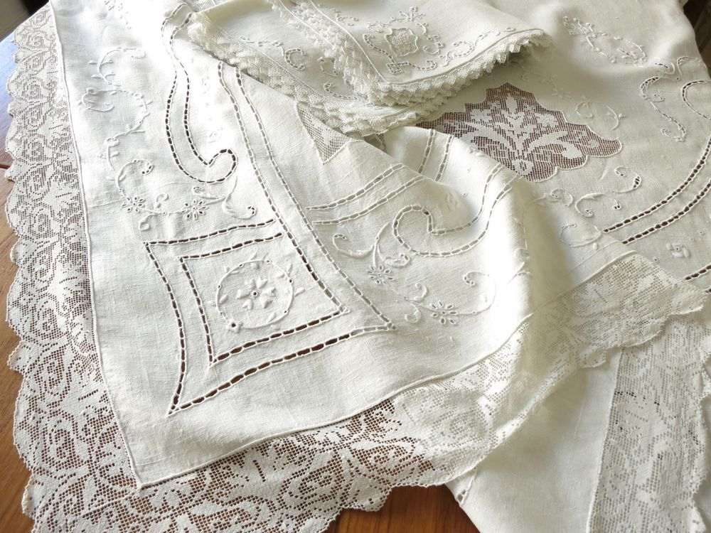 GORGEOUS Antique ITALIAN Embroidery Linen Lace Tablecloth 12 Napkins 68x96  Clean