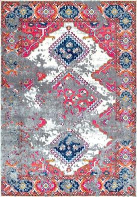 rugs usa pink bosphorus tarnished triple diamond medallion rug