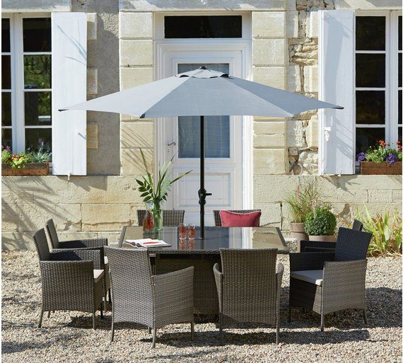 Buy Collection Fiji 48 Seater Rattan Effect Set Grey At Argoscouk Awesome Home And Garden Furniture Collection