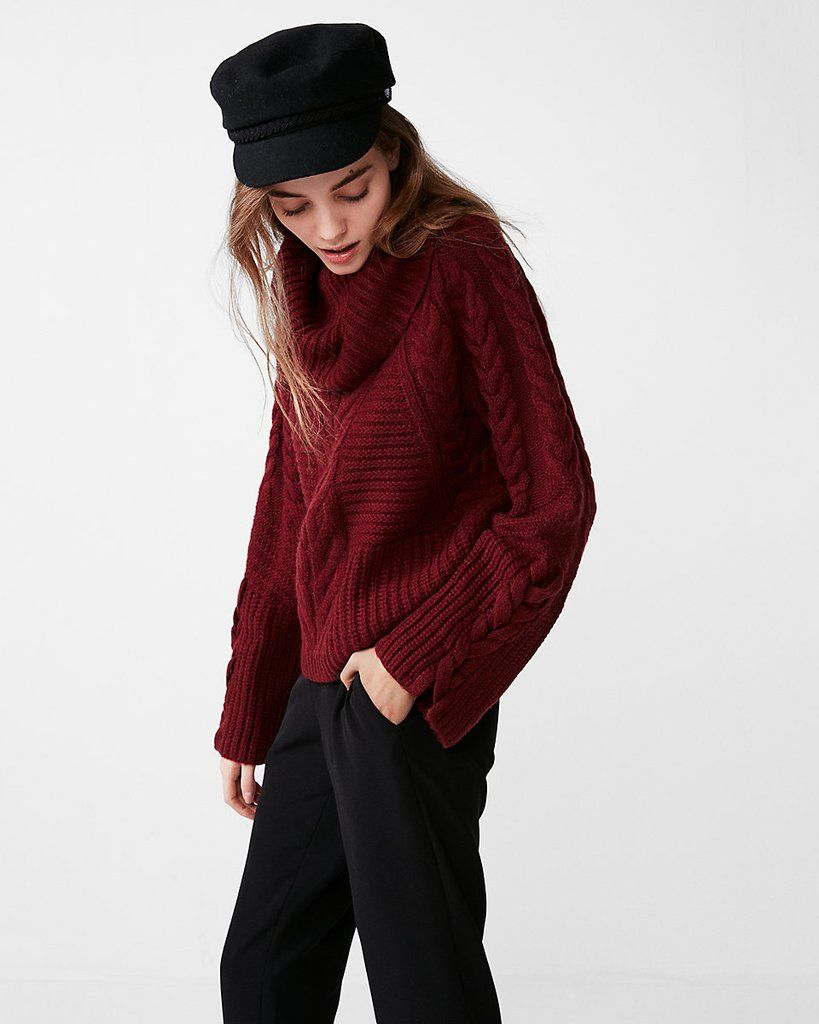 Express Cable Knit Cowl Neck Sweater Cowl Neck Knit Sweater Long Cable Knit Sweater Long Cowl Neck Sweater