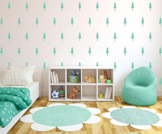 Pine Tree Wall Pattern Decals Forrest Design Wall Decal Custom - Custom vinyl wall decals for classrooms
