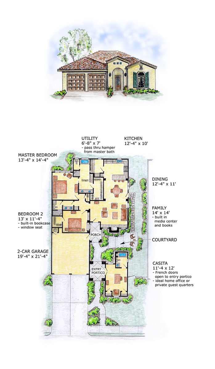 Southwest House Plan 56510 | Total Living Area: 1660 SQ FT, 2 Bedrooms,