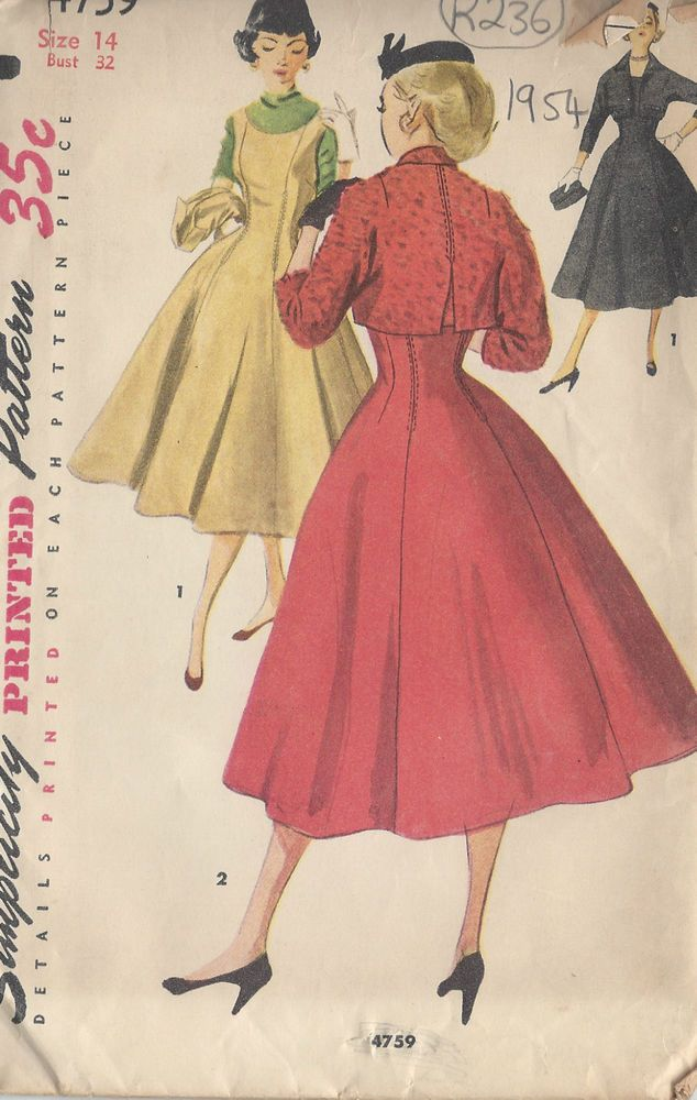 Nähen Schnittmuster 1954 Vintage B32 Kleid & Jacke (R236) | vintage ...