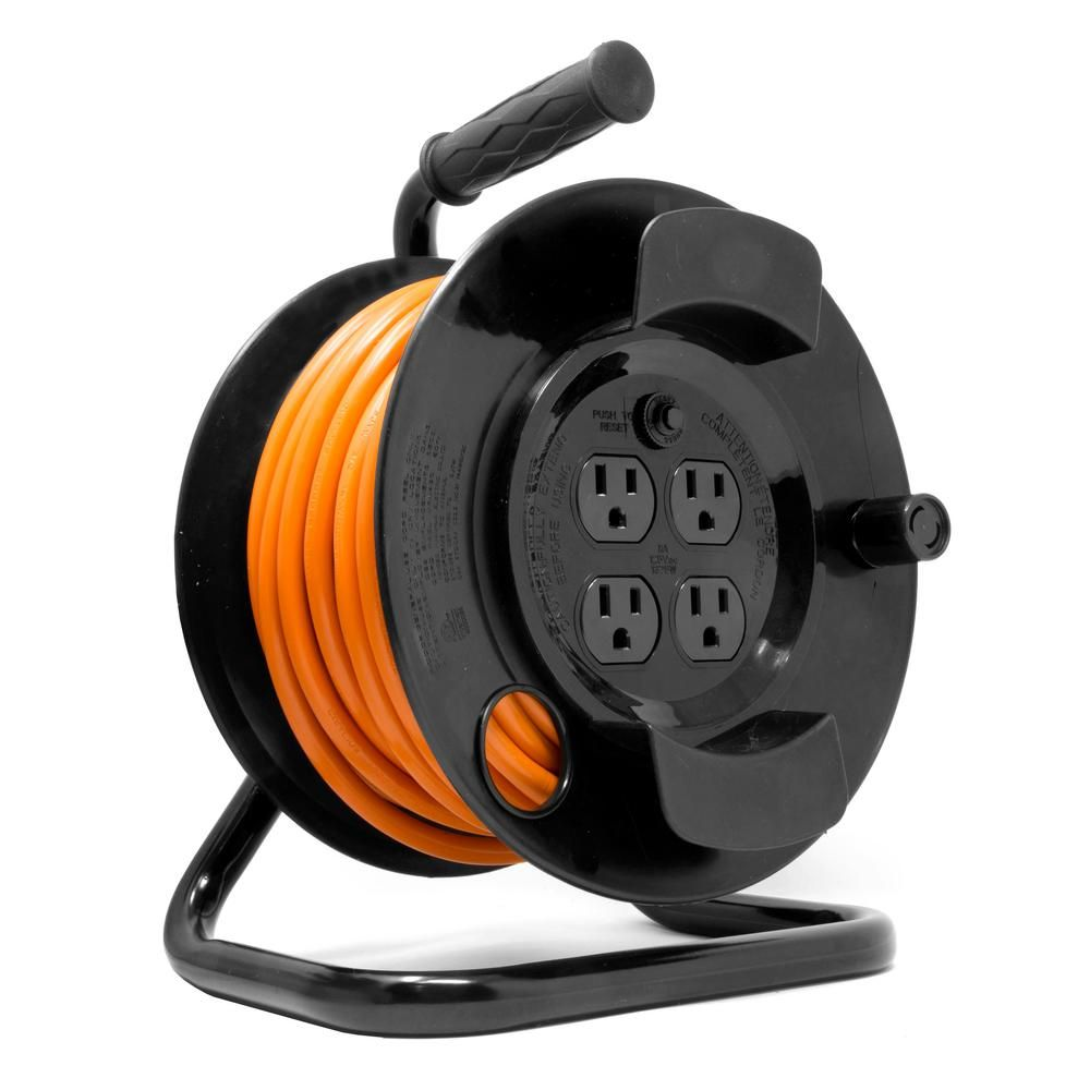 Husky 50 Ft 14 3 13 Amp Retractable Extension Cord Reel System Hd