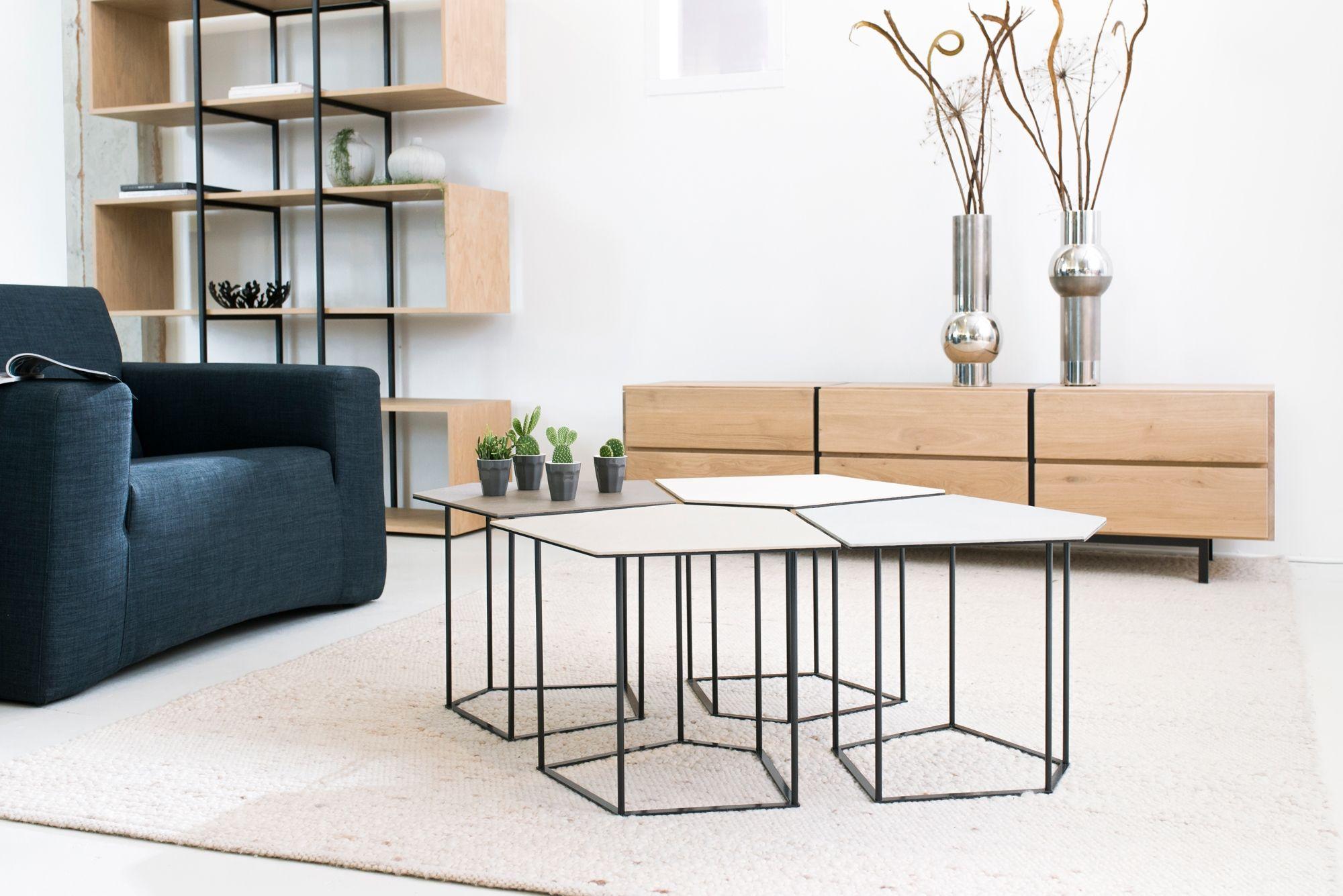 Design salontafel penta van staal italiaans porselein