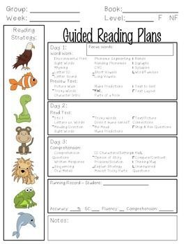 Free  Guided Reading Lesson Plan Template  Sample  Guided