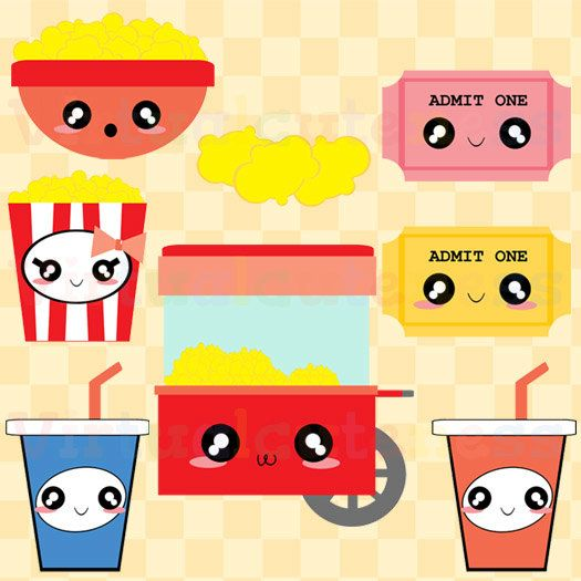 Movie kawaii. Popcorn clipart cute theater