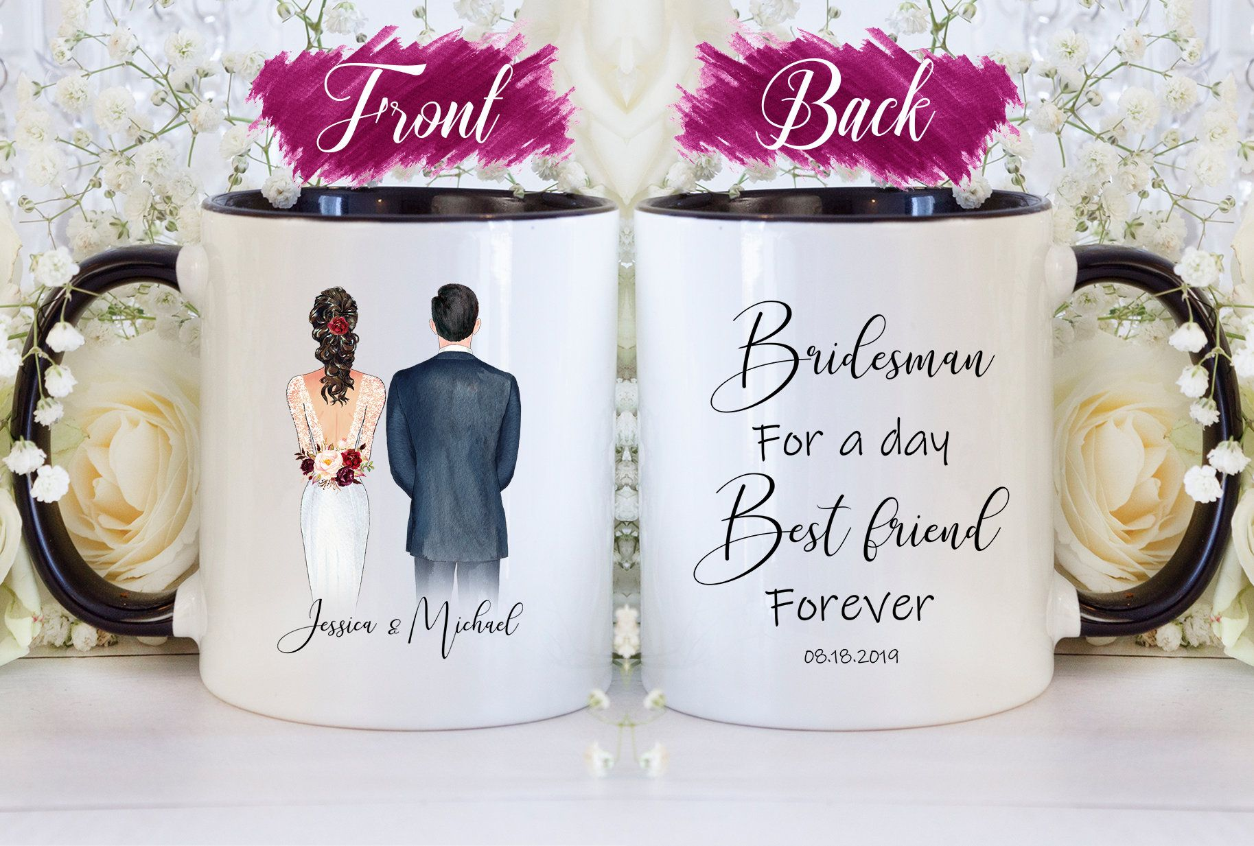 Custom Bridesman Wedding Gift Man Of Honor Gift Thank You Gift Bridal Party Mug Brother Mug Bridesman Gift Coffee Mug Thank You Man Bridesman Gifts Wedding Mugs Bridesman