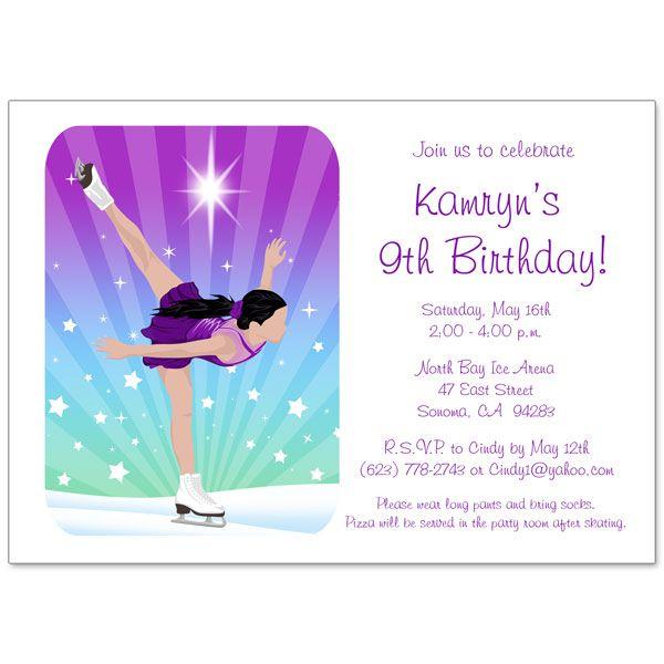 Ice skating dreams birthday party invitation party invitations and ice skating birthday party invitations for girls filmwisefo